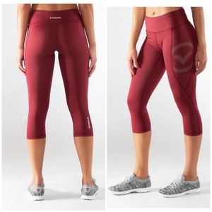 Virus maroon compression workout leggings Sz Sm